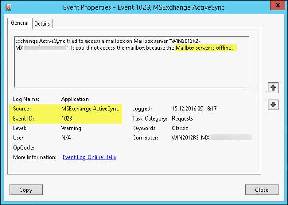 Exchange 2016 - HTTP Error 500 after logging into ECP/OWA